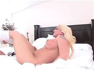 Abigail and Leya get it on double fake penis style