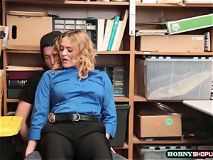 Krissy Lynn searches strung up shoplifter and rides his manhood