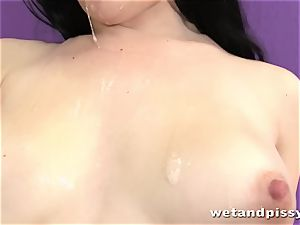 cute raven haried honey urinating in solo vignette