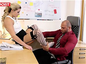 Stepdaughter joins parent in romping the office secretary
