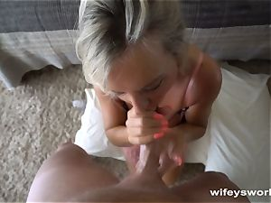 chesty cougar leisurely deep-throats and drains ample cum Shot