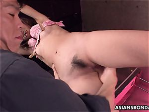 screaming asian super-bitch getting her soaking wet cunt toyed