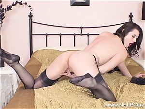 beautiful milf strokes to climax in sheer nylons garters