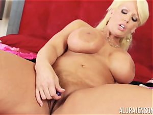 Alura Jenson attempts on her clothes whislt having a vibrator stuck in her pussyhole