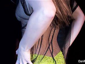 diminutive beauty Dani Daniels thumbs her tight vulva