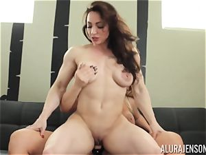 Alura Jenson cunny crammed with belt dick strenuous muscular gal Brandi May