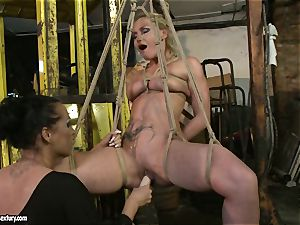 Kathia Nobili and Mandy Bright dildo pounding firm
