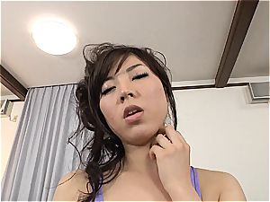big-boobed Jap gets her stocking and honeypot ripped