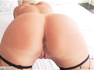 spectacular light-haired Nina Elle railing a huge black holy schlit