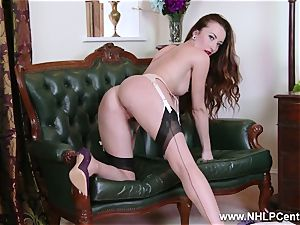honey disrobes to nylons high-heeled shoes to plaything her cooch