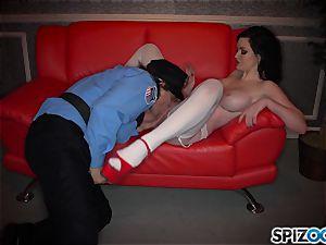 wild dark-haired Kendall Karson banged by policeman in the stripclub