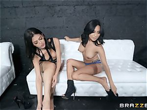 Sophia Leone tonguing out her pal