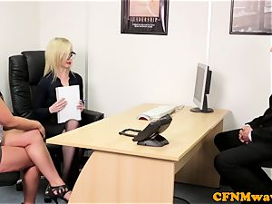 european CFNM femdom deep-throating salami in office