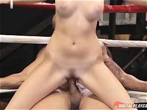 Alexis Adams vulva puckered in the boxing ring by fat dick