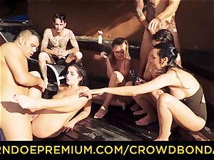 CROWD restrain bondage Outdoor pool hookup for steaming Loren Minardi